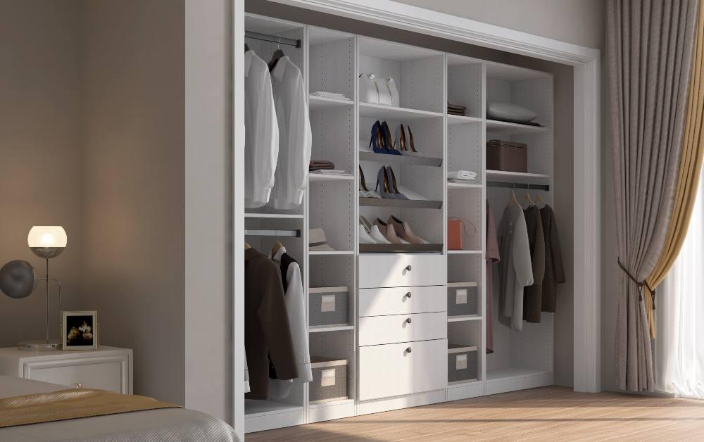 Cream White Cabinet Closet in Set Room
