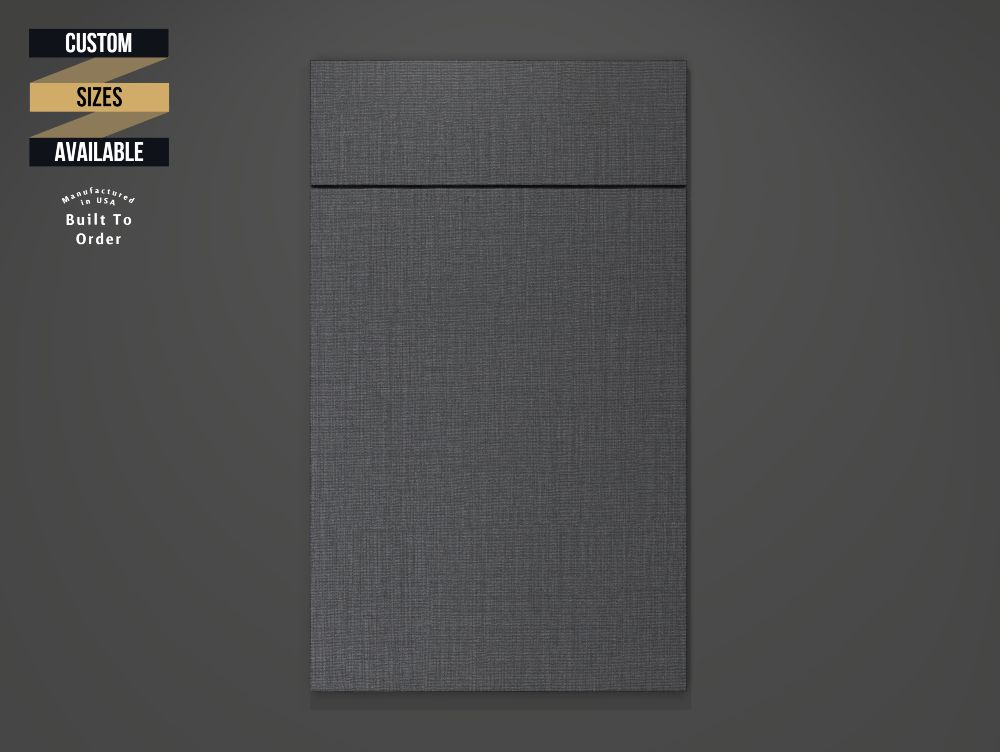 Fabric Charcoal Sample Door on Grey Background