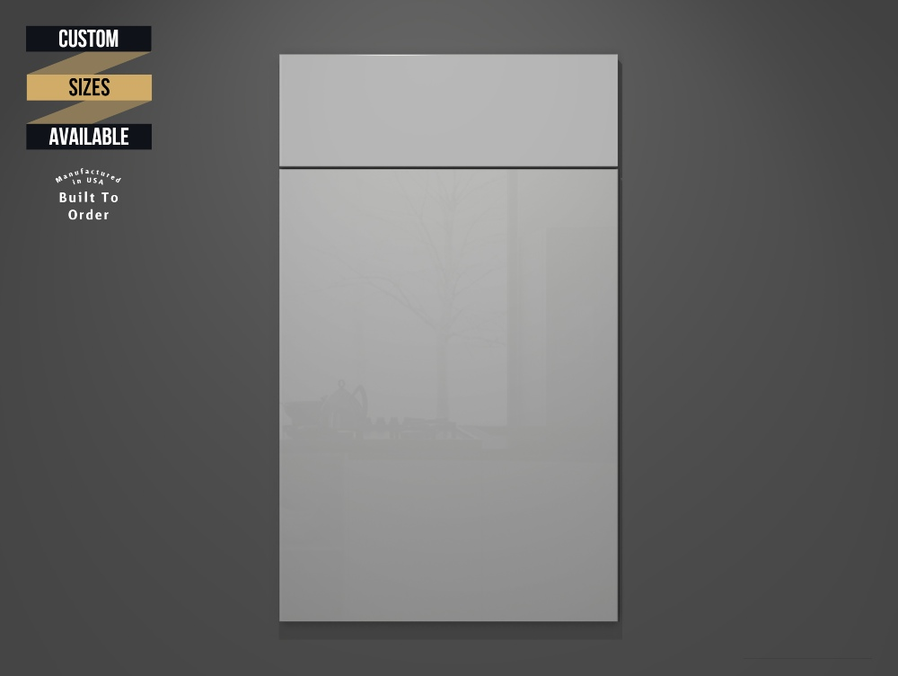 Glossy Ash Sample Door on Grey Background