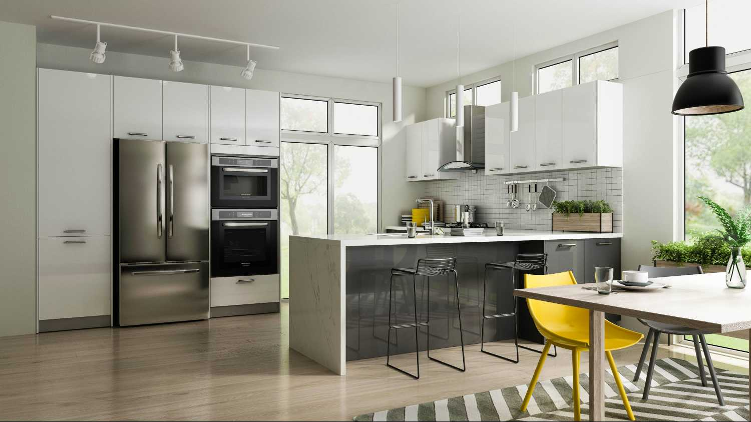 Modern Staged Kitchen with Sleek european style cabinets in white and grey