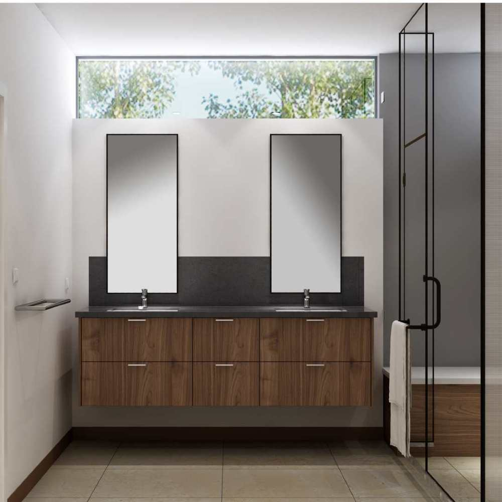 Modern Staged Bathroom with Clean european style cabinets in Walnut brown