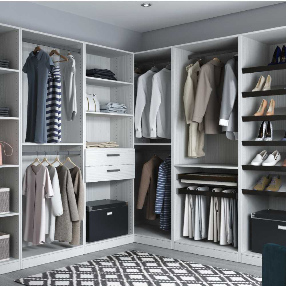 Modern Staged Closet with Slick European style cabinets in white