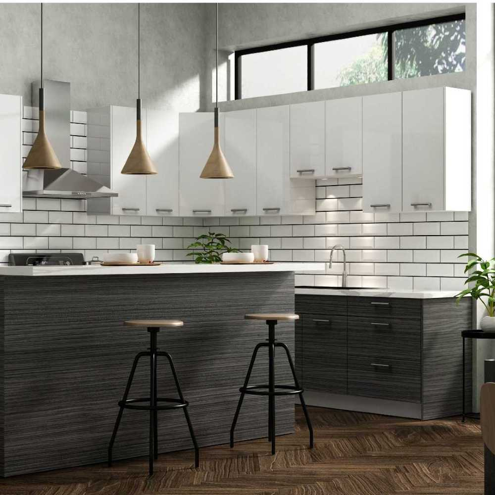 Modern Staged Kitchen with Slick european style cabinets in white and grey/brown
