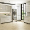 Modern Kitchen Staged with European Style Lacquer White Cabinets with Soft Warm Natural Light