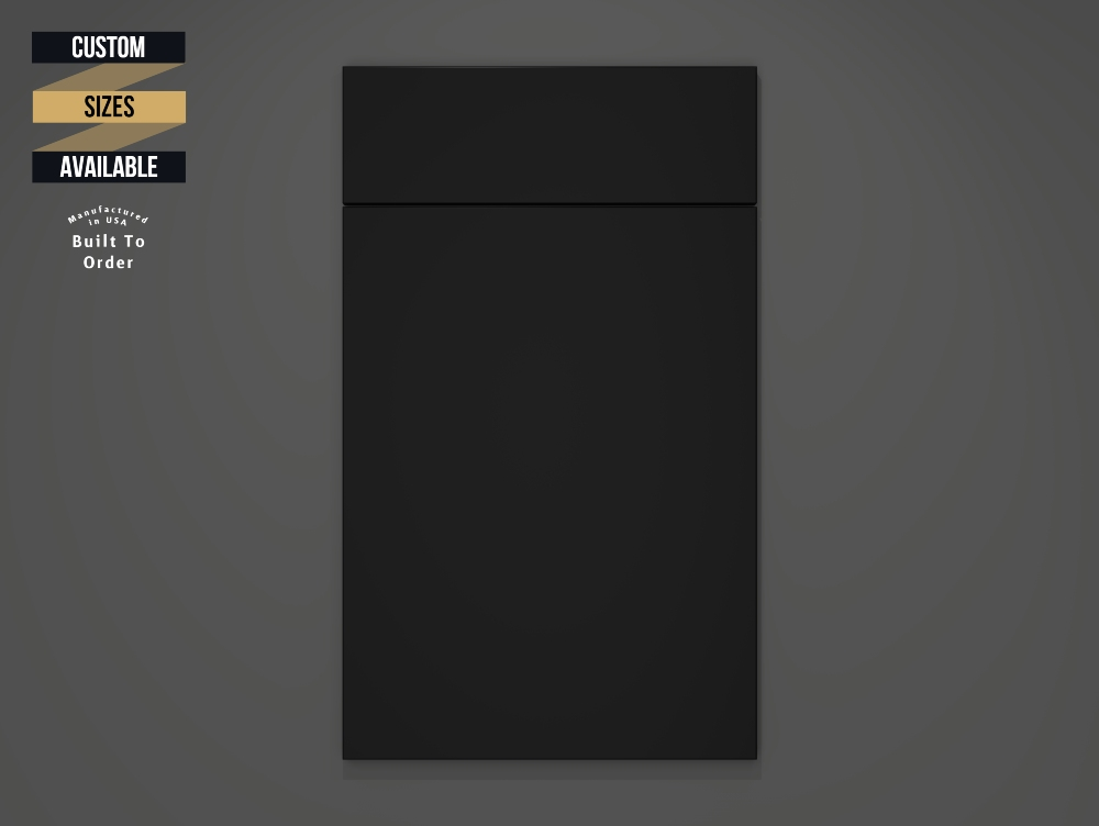 Matt Black Sample Door on Grey Background