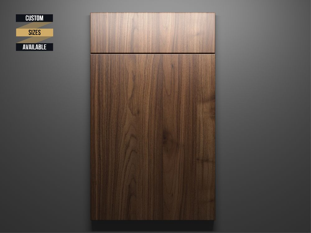 Walnut Sample Door on Grey Background