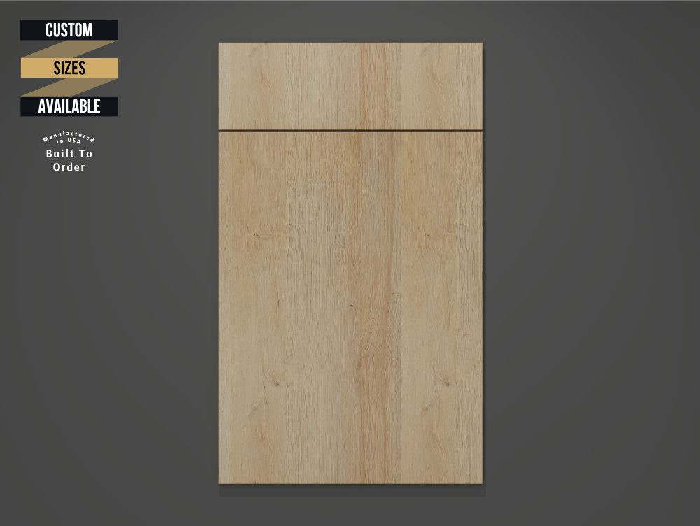 Yellow Oak Sample Door on Grey Background