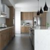 Modern Open Concept Kitchen with Euro Style Walnut Doors